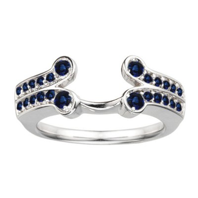 0.5 Ct. Sapphire Bezel Y Double Row Solitaire Ring Wrap