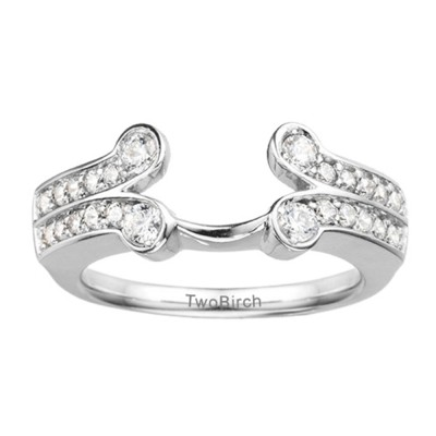 0.5 Ct. Bezel Y Double Row Solitaire Ring Wrap