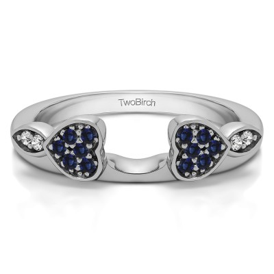 0.16 Ct. Sapphire and Diamond Heart Shaped Anniversary Ring Wrap