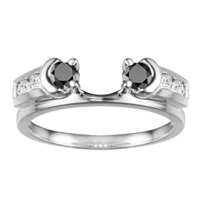 0.48 Ct. Black and White Illusion Half Moon Ring Wrap Enhancer