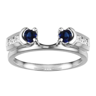0.48 Ct. Sapphire and Diamond Illusion Half Moon Ring Wrap Enhancer
