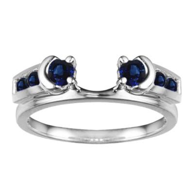 0.48 Ct. Sapphire Illusion Half Moon Ring Wrap Enhancer