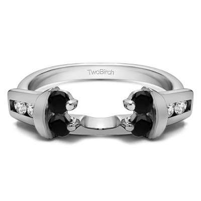 0.48 Ct. Black and White Prong and Channel Round Wedding Jacket Ring
