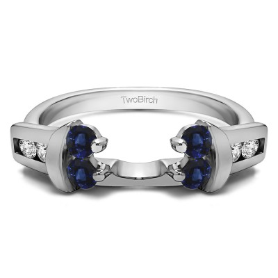 0.42 Ct. Sapphire and Diamond Prong and Channel Round Wedding Jacket Ring