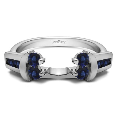 0.42 Ct. Sapphire Prong and Channel Round Wedding Jacket Ring