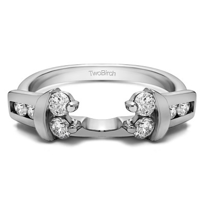 0.42 Ct. Prong and Channel Round Wedding Jacket Ring