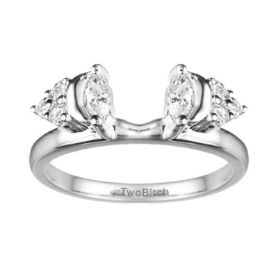 0.5 Ct. Moon Shaped Marquise and Round Cluster Solitaire Ring Wrap