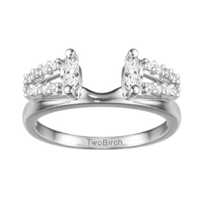 0.41 Ct. Split Double Row Marquise ring wrap