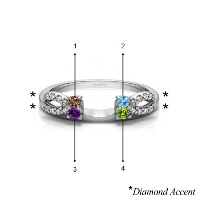 Genuine Birthstone Delicate Bow Style Ring Wrap(0.2 Carat)