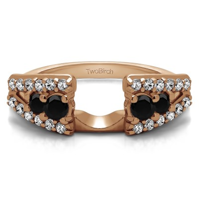 0.44 Ct. Black and White Triple Row Round Ring Wrap in Rose Gold
