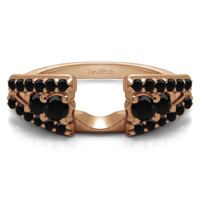 0.44 Ct. Black Triple Row Round Ring Wrap in Rose Gold