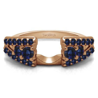 0.44 Ct. Sapphire Triple Row Round Ring Wrap in Rose Gold