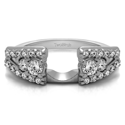TwoBirch Sterling Silver Triple Row Round Ring Wrap with Cubic Zirconia(0.44 Ct Size 9)