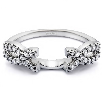 0.24 Ct. Infinity Criss Cross Ring Wrap With Cubic Zirconia Mounted in Sterling Silver (Size 8)