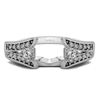 0.29 Ct. Y Shape Prong in Channel Ring Wrap With Cubic Zirconia Mounted in Sterling Silver (Size 7.5)