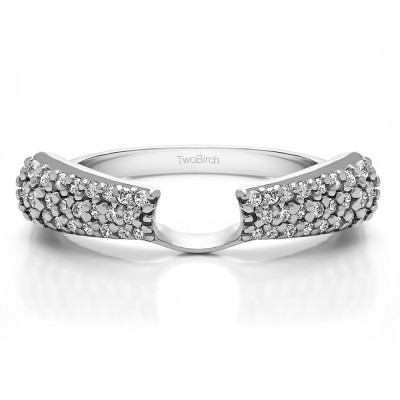 0.29 Ct. Three Row Pave Set Solitaire Ring Wrap