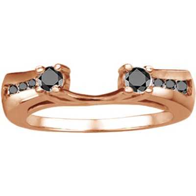 0.5 Ct. Black Round Prong and Channel ring wrap in Rose Gold