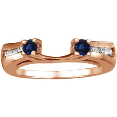 0.18 Ct. Sapphire and Diamond Round Prong and Channel ring wrap in Rose Gold