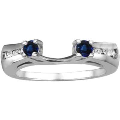 0.18 Ct. Sapphire and Diamond Round Prong and Channel ring wrap