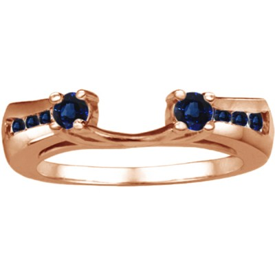 0.18 Ct. Sapphire Round Prong and Channel ring wrap in Rose Gold