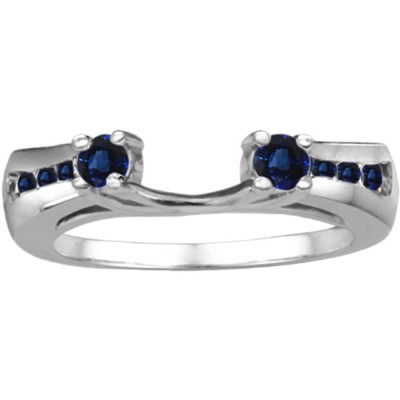 0.18 Ct. Sapphire Round Prong and Channel ring wrap