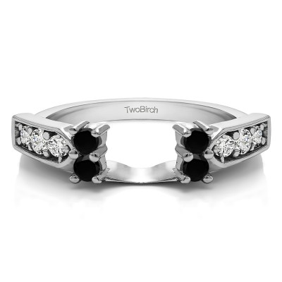0.33 Ct. Black and White Millgrained Prong and Channel Ring Wrap