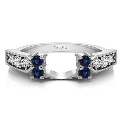 0.33 Ct. Sapphire and Diamond Millgrained Prong and Channel Ring Wrap