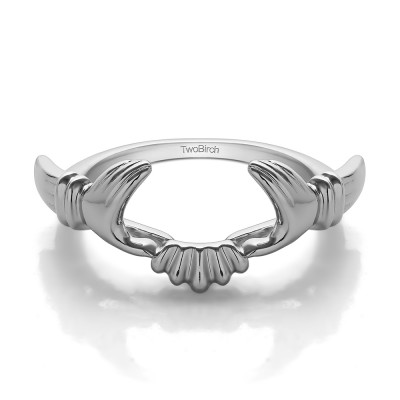 TwoBirch Claddagh Ring Wrap With Plain metal Mounted in Sterling Silver