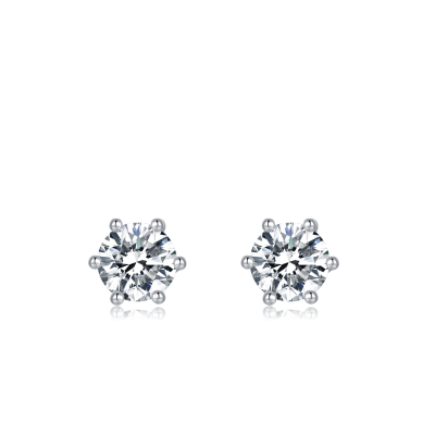 Platinum Plated Sterling Silver Solitaire Moissanite Stud Earrings (5 MM Round, 1 CT TWT DEW, CERTIFIED)