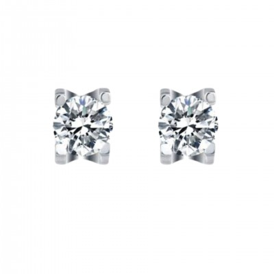 Platinum Plated Sterling Silver Moissanite Stud Earrings in 4 Prongs (5 MM Round, 1 CT TWT DEW, CERTIFIED)