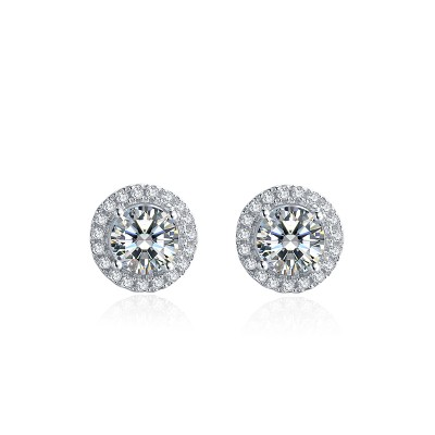 Platinum Plated Sterling Silver Moissanite Halo Stud Earrings in 4 Prongs (5 MM Round, 1 CT TWT DEW, CERTIFIED)