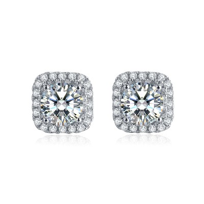 Platinum Plated Sterling Silver Moissanite Square Halo Stud Earrings in 4 Prongs (5 MM Round, 1 CT TWT DEW, CERTIFIED)