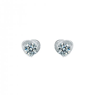 Platinum Plated Sterling Silver Solitaire Moissanite Stud Earrings with Swirl Design (5 MM Round, 1 CT TWT DEW, CERTIFIED)
