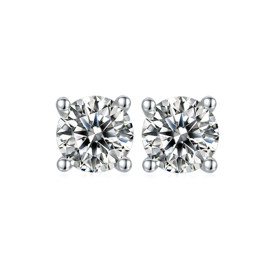 TwoBirch 1 Carat Round Moissanite Stud Earrings (5 MM, Certified) set in Platinum Plated Silver