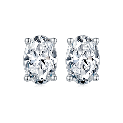 TwoBirch 1 Carat Oval Moissanite Stud Earrings (4 x 6 mm, Certified) set in Platinum Plated Silver
