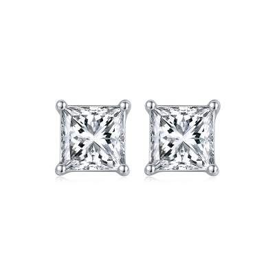 TwoBirch 1 Carat Princess Moissanite Stud Earrings (4.5 x 4.5 mm, Certified) set in Platinum Plated Silver