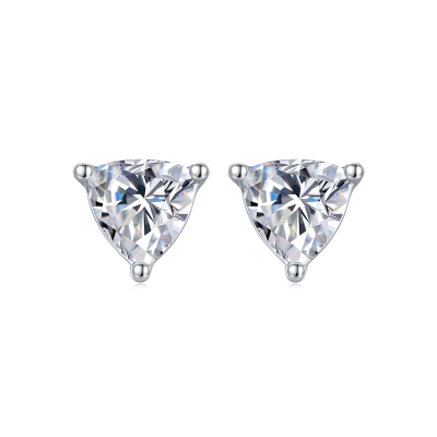 TwoBirch 1 Carat Trillion Moissanite Stud Earrings (5 mm x 5 mm, Certified) set in Platinum Plated Silver