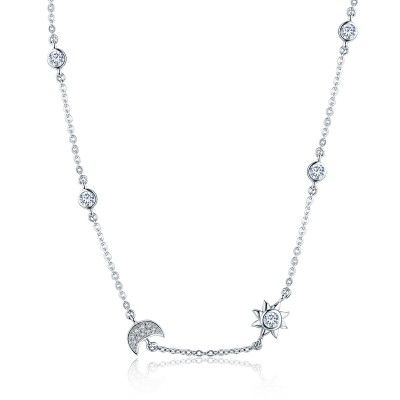 Platinum Plated Sterling Silver 14 to 16 Inch Adjustable Lenth Moon & Stars Necklace with AAA+ Cubic Zirconia