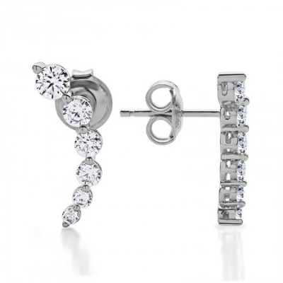 Sterling Silver and Cubic Zirconia Crawler Earrings