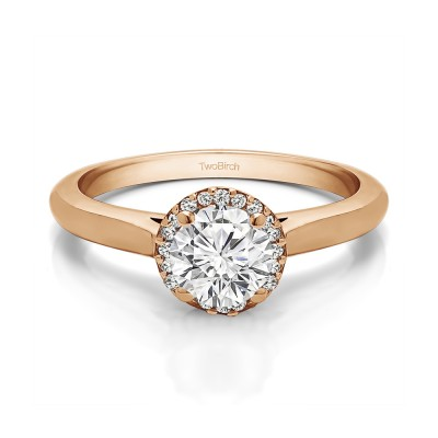 0.51 Ct. Round Solitaire with Halo in Rose Gold