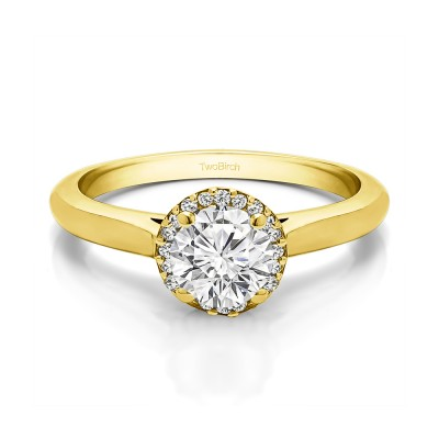 0.51 Ct. Round Solitaire with Halo in Yellow Gold