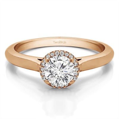 1 Ct. Round Solitaire with Halo in Rose Gold