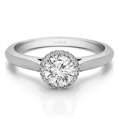 1 Carat Diamond Halo Moissanite Solitaire Engagement Ring in Solid 14K White Gold