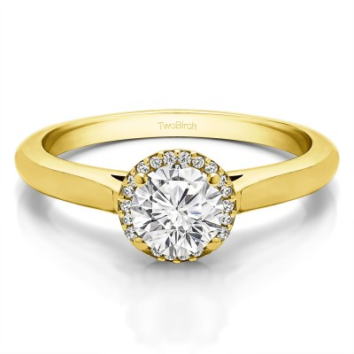 1 Ct. Round Solitaire with Halo in Yellow Gold