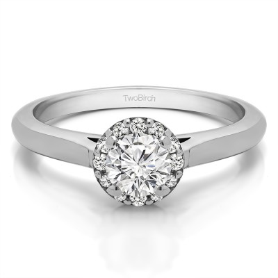 0.49 Ct. Perfect Round Halo Engagement Ring