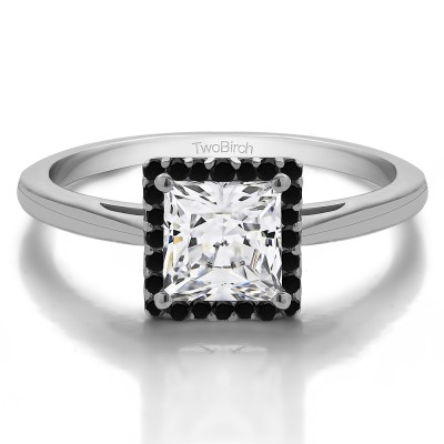 1 CT. Moissanite and Black Diamond Princess Cut Solitaire Halo Engagement Ring