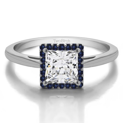 1 CT. Sapphire and Moissanite Princess Cut Solitaire Halo Engagement Ring