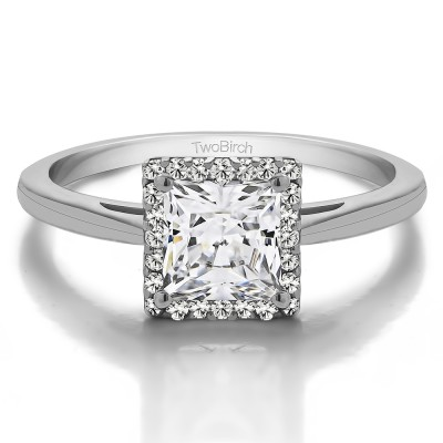 1 CT. Moissanite Princess Cut Solitaire Halo Engagement Ring