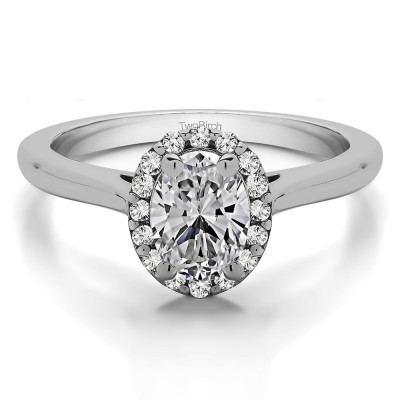Oval Halo Engagement Ring in White Gold