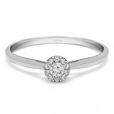 0.15 Ct. Perfect Round Halo Engagement Ring With Cubic Zirconia Mounted in Sterling Silver (Size 6.75)